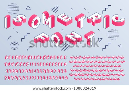 Isometric font. Geometric alphabet 3d letters cubic blocks and perspective numbers sign vector set