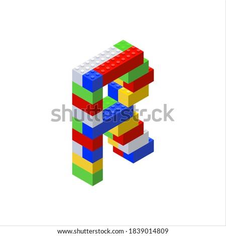Isometric font made from color plastic blocks. The children's designer. Letter R. Vector illustration Stock fotó ©