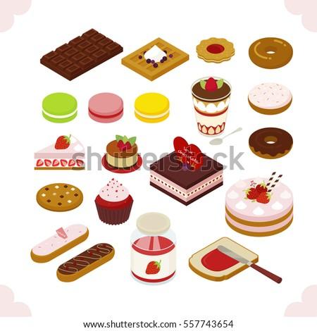 isometric food sweet dessert