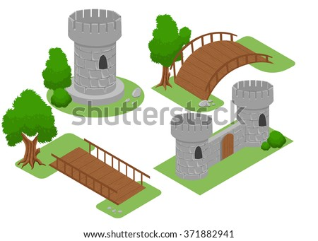Isometric for game . Elements for game. strategy bridge castle