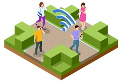 Isometric Free wi-fi signboard in park or campus, wifi zone. Wireless internet sign on the street. Women and men with laptop and tablet pc computers at park.