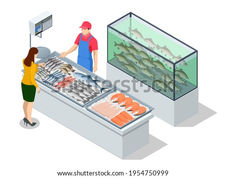 Isometric Fresh Fish and Seafood Sale Market. Fresh Fish in the FreshMarket or Supermarket cooled Fish Fresh. Sea Bass and Bream FreshFish