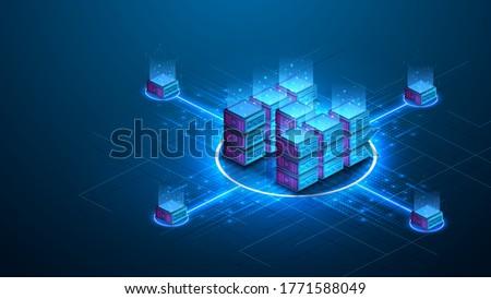 Isometric futuristic Hosting server. Abstract datacenter or blockchain background. 3D Digital background. Server farm communication with internet. Computer storage, farming workstation. Vector