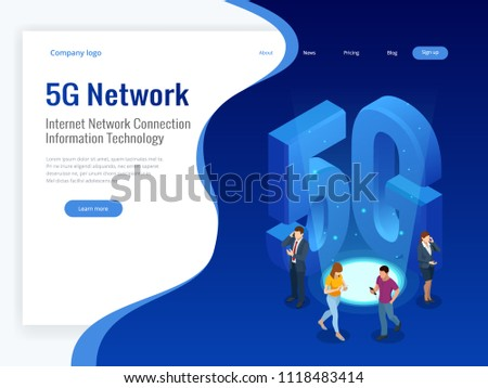 Isometric 5G network wireless systems and internet vector illustration. Communication network, Business concept.