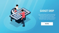 Isometric gadget shop horizontal banner with store display characters of consumers assistant and text with button vector illustration