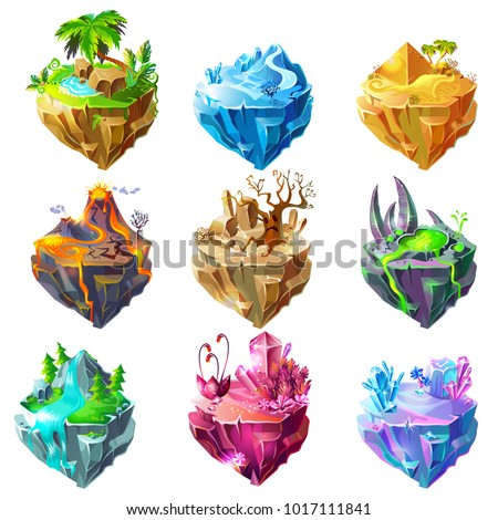 Isometric game islands collection with tropical ice desert volcano stone forest waterfall crystal landscapes isolated vector illustration
