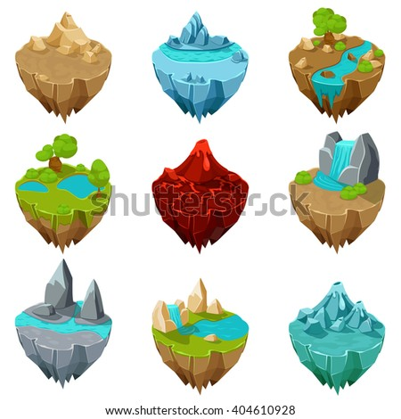 isometric game islands with