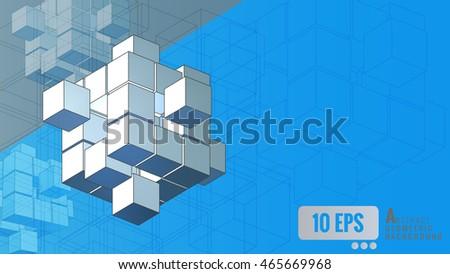 Stock Photo Isometric geometric cube movement on blue background