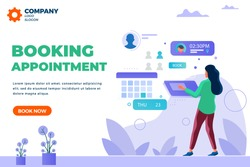 Isometric girl, lady booking appointment-planing business meeting-online calendar update-cartoon concept-creative character designs with abstract shapes