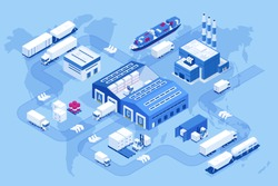 Isometric global logistics network. Air cargo, rail transportation, maritime shipping, warehouse, container ship, city skyline on the world map.
