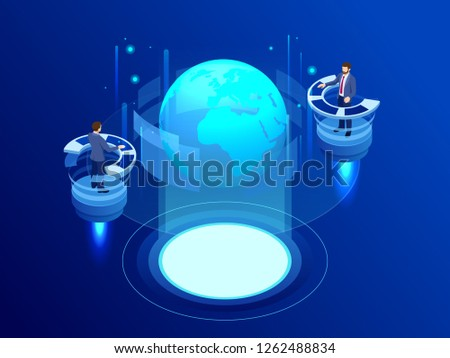 Isometric Global network concept. Global network planet Earth. Administrator Monitors Work of Artificial Intelligence. Professional IT Engineers Working in System Control Center.