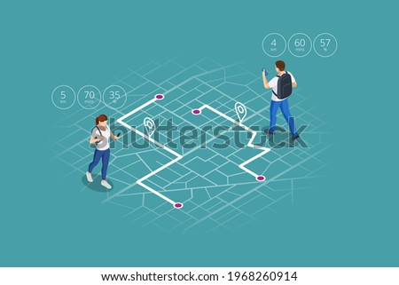 Isometric gps navigation concept. Tourist traveling using his smartphone with previously saved favorite places on map. City map route navigation smartphone, phone point marker.