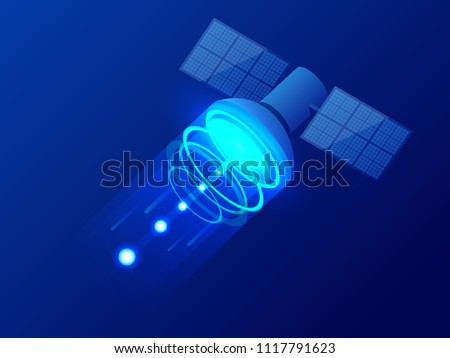 Isometric GPS satellite. Wireless satellite technology. World global net. Equipment for satellite TV and radio broadcasting. Vector illustration