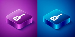 Isometric Guitar icon isolated on blue and purple background. Acoustic guitar. String musical instrument. Square button. Vector