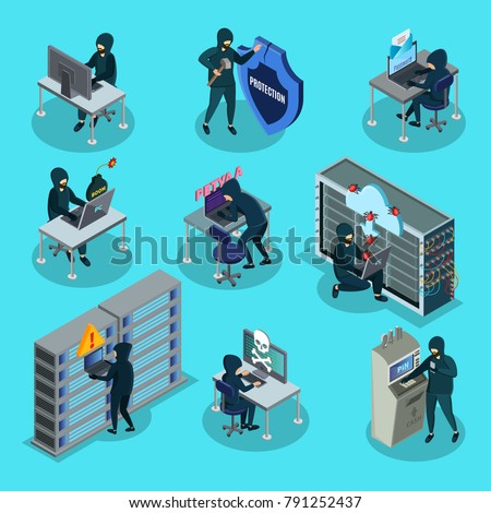 Isometric hacking activity elements set with hackers stealing money information infected computer by viruses trojans isolated vector illustration