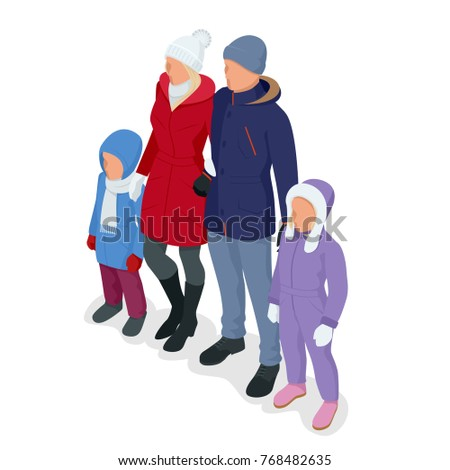 isometric happy family isolated