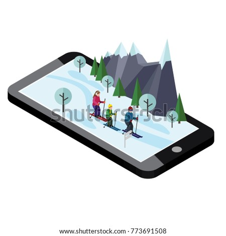 Isometric happy family skiing. Mobile navigation. Videos and photos keeped in phone memory. Cross country skiing, winter sport. Olimpic games, recreation lifestyle, activity speed extreme