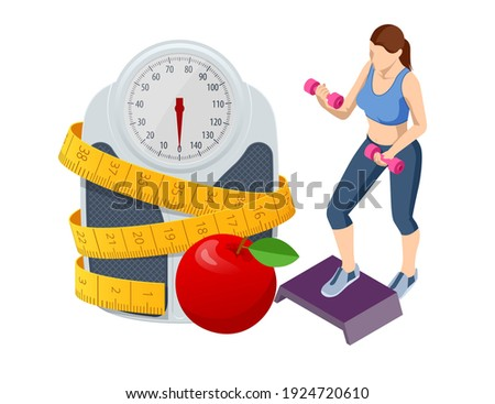 Isometric Healthy food and Diet planning concept. Healthy eating, personal diet or nutrition plan from dieting expert. Nutrition consulting, diet plan Photo stock ©