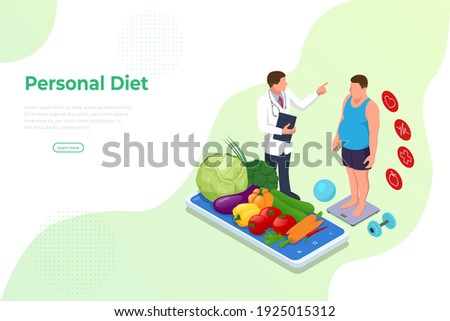 Isometric Healthy food and Diet planning concept. Healthy eating, personal diet or nutrition plan from dieting expert. Nutrition consulting, diet plan. Excess weight