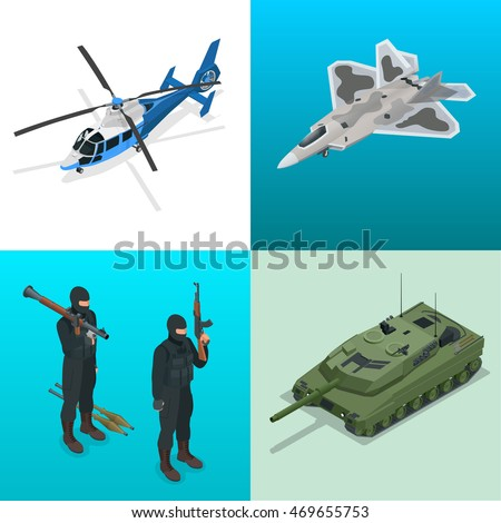 Isometric helicopter, aircraft, tank, soldiers. Military vehicle. Flat 3d isometric illustration. For infographics and design