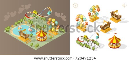 Isometric High Quality City Element on Brown Background . Theme Park