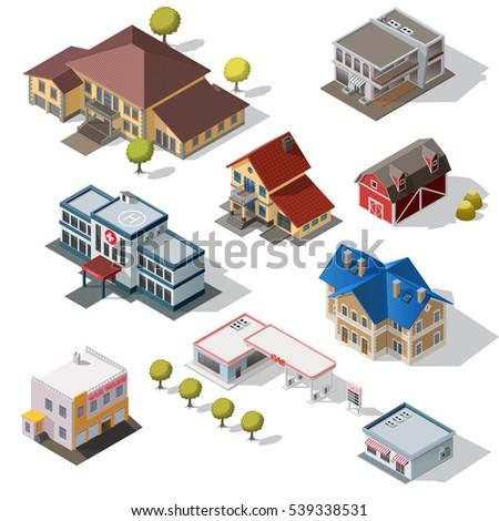 isometric high quality city