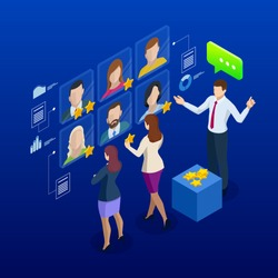Isometric hiring and recruitment concept for web page, banner, presentation. Job interview, recruitment agency, recruitment process