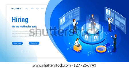 Isometric hiring, recruitment agency. Web site page concept. Template, banner, advertising, presentation. Job vacancy.