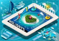 Isometric Holidays Infographic on Mobile Tablet Dreaming Vacations Heart Island 3D Isometric Vector Illustration