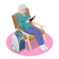 Isometric Home Medical Oxygen Concentrator. Concept of healthcare, life, pensioner. Senior woman with Chronic obstructive pulmonary disease with supplemental oxygen