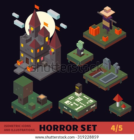 isometric horror vector flat