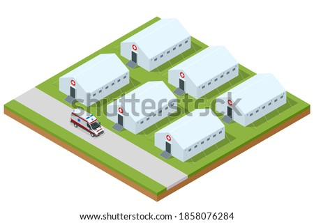 Isometric hospital field tent for the first AID and ambulance, a mobile medical unit for patient with Corona Virus. Camp room for people infected with an epidemic ストックフォト ©