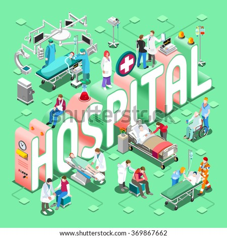 Isometric Hospital Healthcare treatment Infographic. Doctor Medical Department Concept 3D Flat Isometric People Health Care Clinic Nurse Doctor Hospital Assistance Medical Vector medicine Illustration