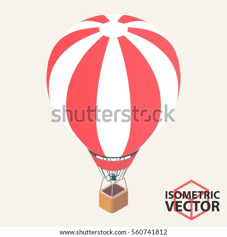 Isometric Hot Air Balloon  Vector