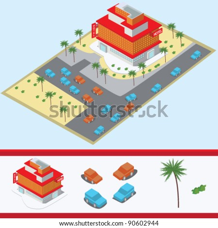 isometric hotel building illustration vector
