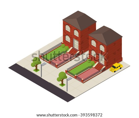 isometric house building 3d