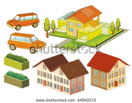 isometric house, car, and tree. very detail vector. see the others