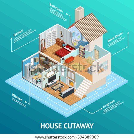 Isometric house cutaway conceptual composition with profiled home room views and text captions on abstract background vector illustration