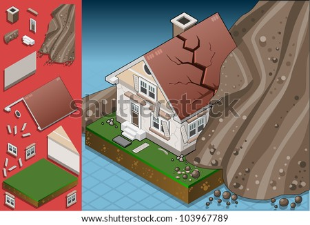 isometric house hit by landslide