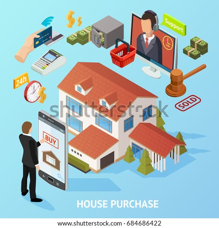 Isometric house loan composition with conceptual financial elements payment credit smartphone auction hammer and landmark images vector illustration