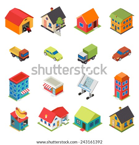isometric house real estate car