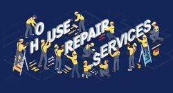 Isometric house repair services concept. Workers, tools and isometric word Repair. Builders in uniform installed letters. Home renovation. Vector flat 3d illustration.