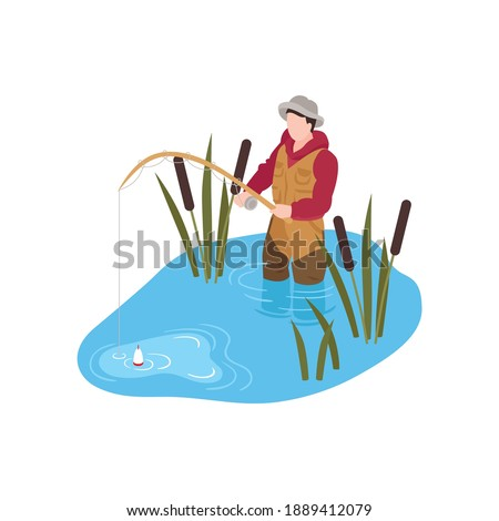 Isometric human character fishing in river 3d vector illustration stock photo