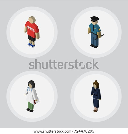 isometric human set of doctor
