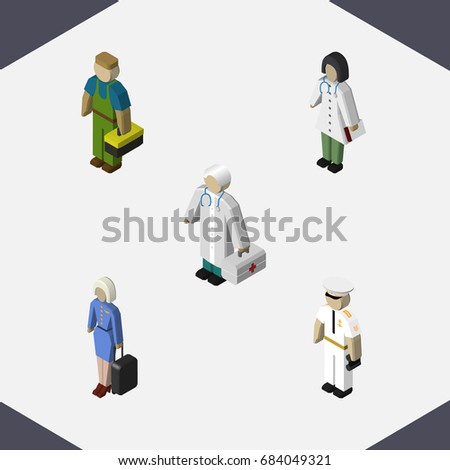isometric human set of seaman