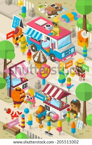 isometric ice cream street