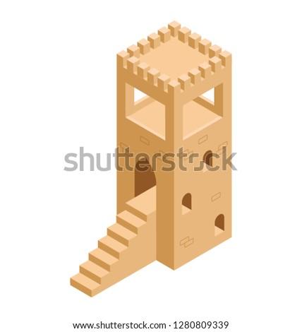 Isometric icon of castle stairway