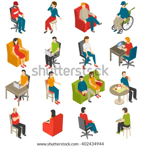 Isometric icon set of diverse people sitting on different chairs isolated vector illustration