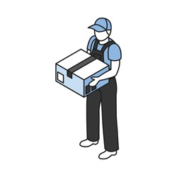 Isometric icon with warehouse worker holding cardboard box 3d vector illustration