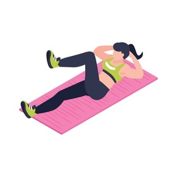 Isometric icon with woman in sportswear doing fitness 3d vector illustration